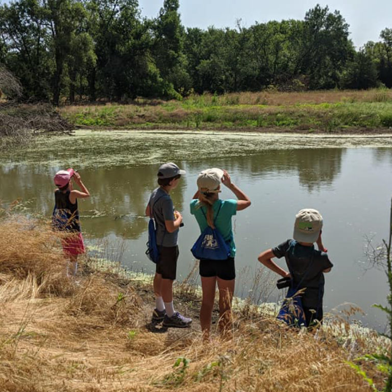 Group of kids looks out over a lake as part of Prairie Loft, Hastings